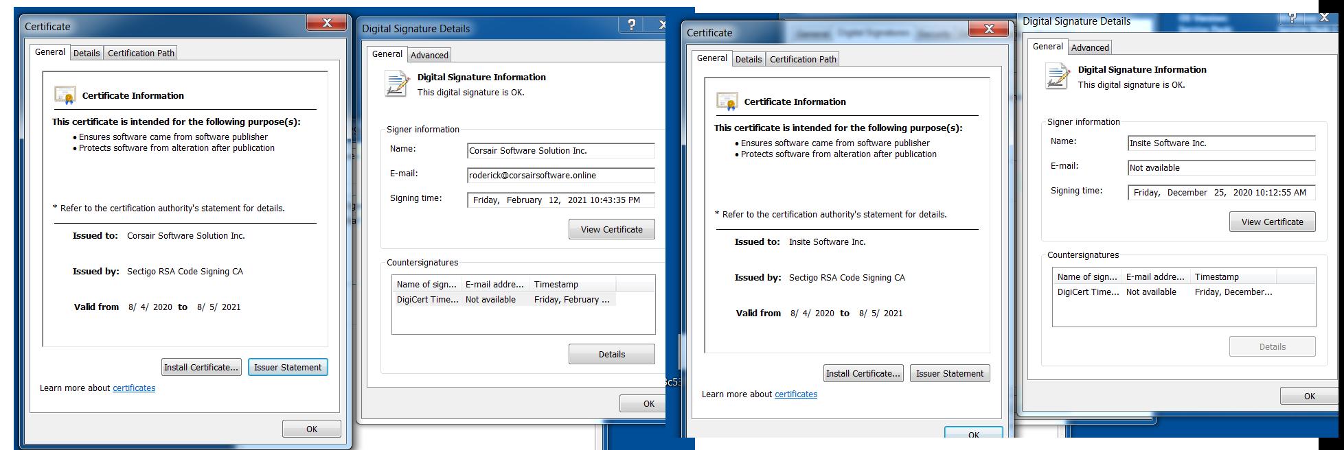 Clopランサムウェアはコード署名を利用して検出を回避する。この画像は、調査中に観測した2名の署名者を示している