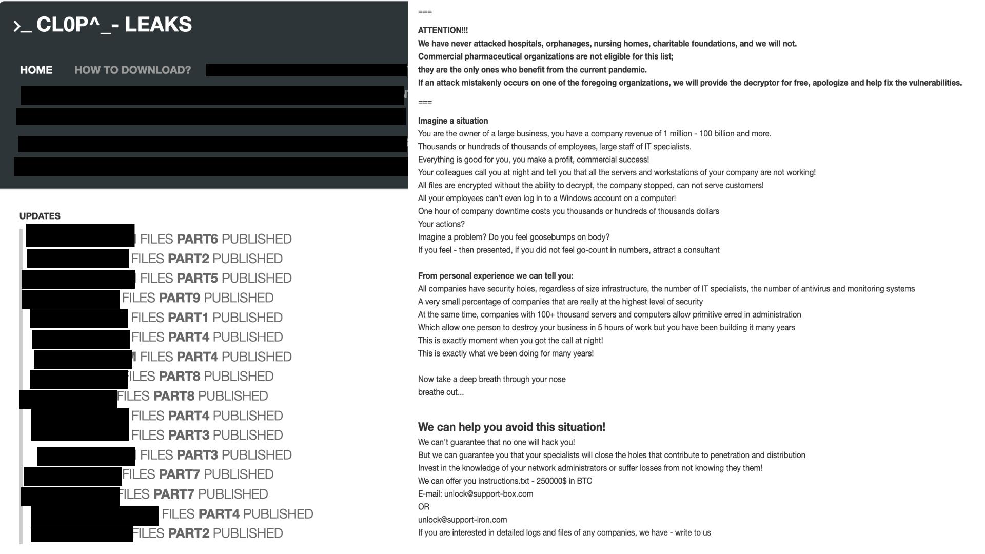 スクリーンショット左側は、Clopのリークサイトの外観を示す。右側は被害者に「有料で」セキュリティ体制を改善し、セキュリティホールを塞ぐ方法を学ぶように促すメッセージの例を示している。