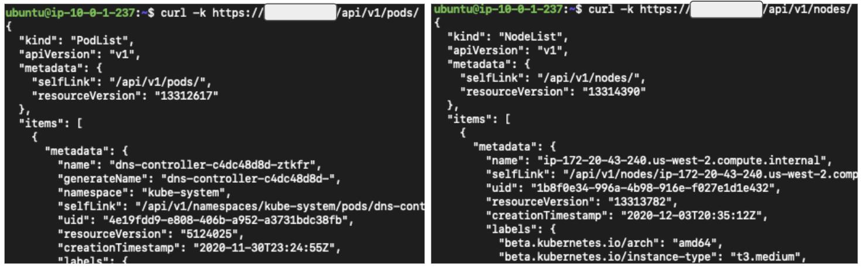 図2 curlを使用して匿名でkube-apiserverにアクセスする
