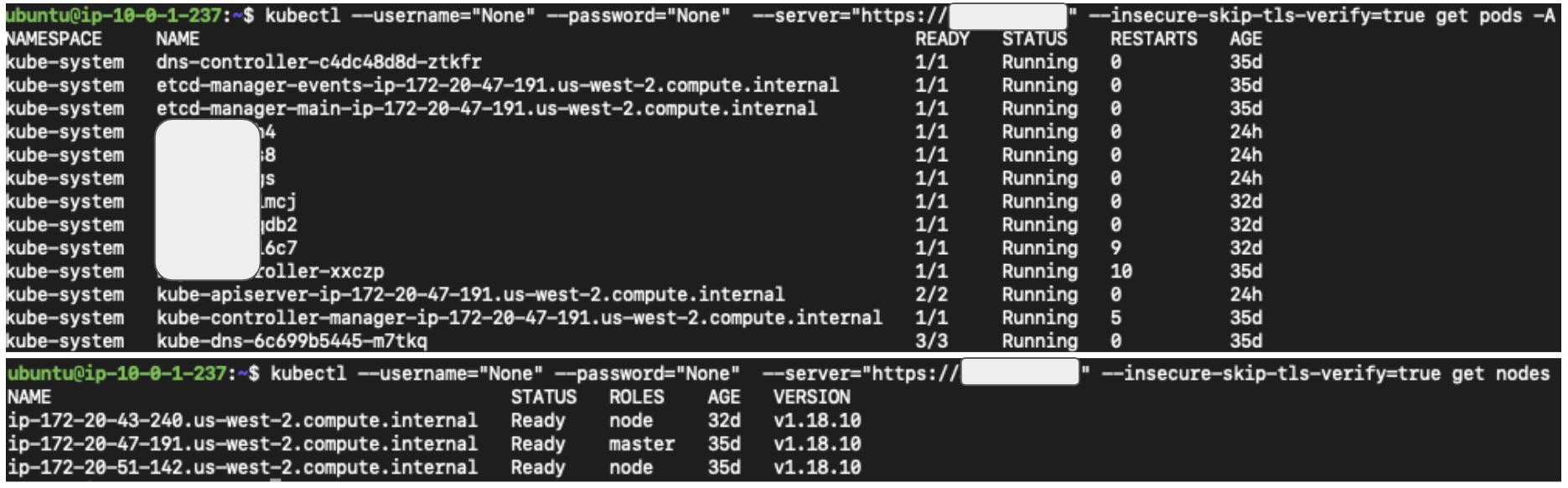 図3 kubectlを使用して匿名でkube-apiserverにアクセスするkubectlは匿名リクエストを送信するためにダミーのユーザー名とパスワードを必要とすることに注意