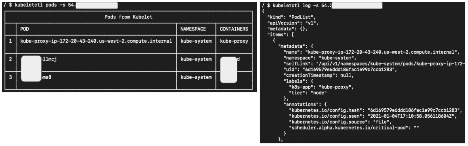 図5 kubeletctlを使用して匿名でkubeletサーバーにアクセスする