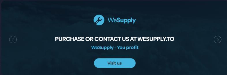 スクリーンショットに示すようにWeSupplyのWebサイトは「私たちが提供しあなたたちが儲ける」というタグラインで自分自身を宣伝している