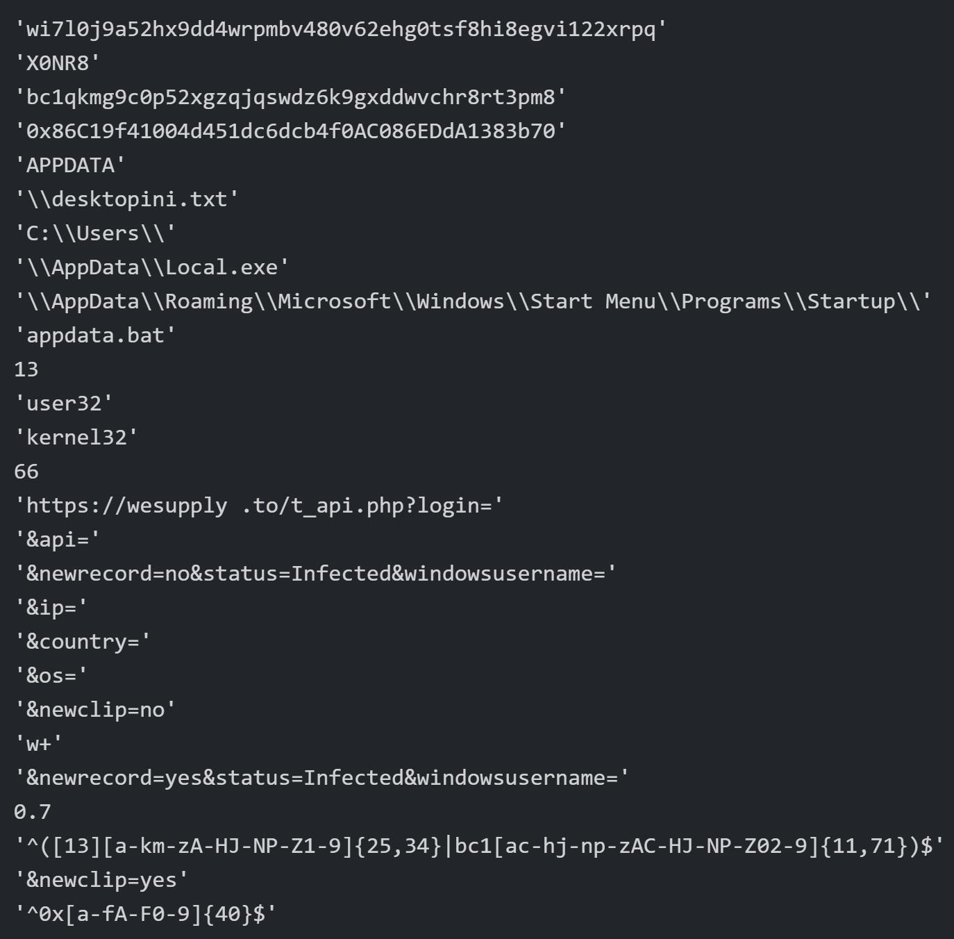 ここに示したようにBitcoinとEthereumウォレットのフォーマットを記述している具体的な正規表現は復号したWeStealサンプルで識別した定数から確認できる