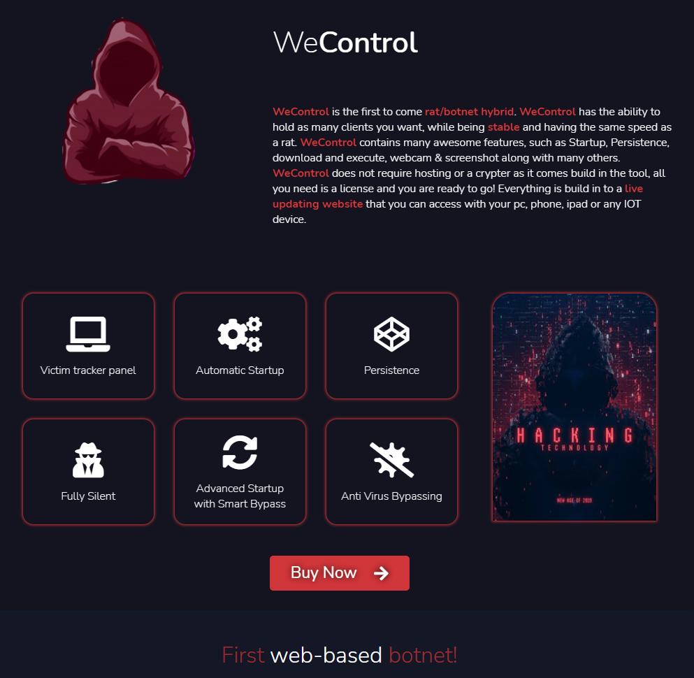 WeControlは、WeSupplyのWebサイト上で「初登場のRAT/ボットネットハイブリッド」と宣伝されています。