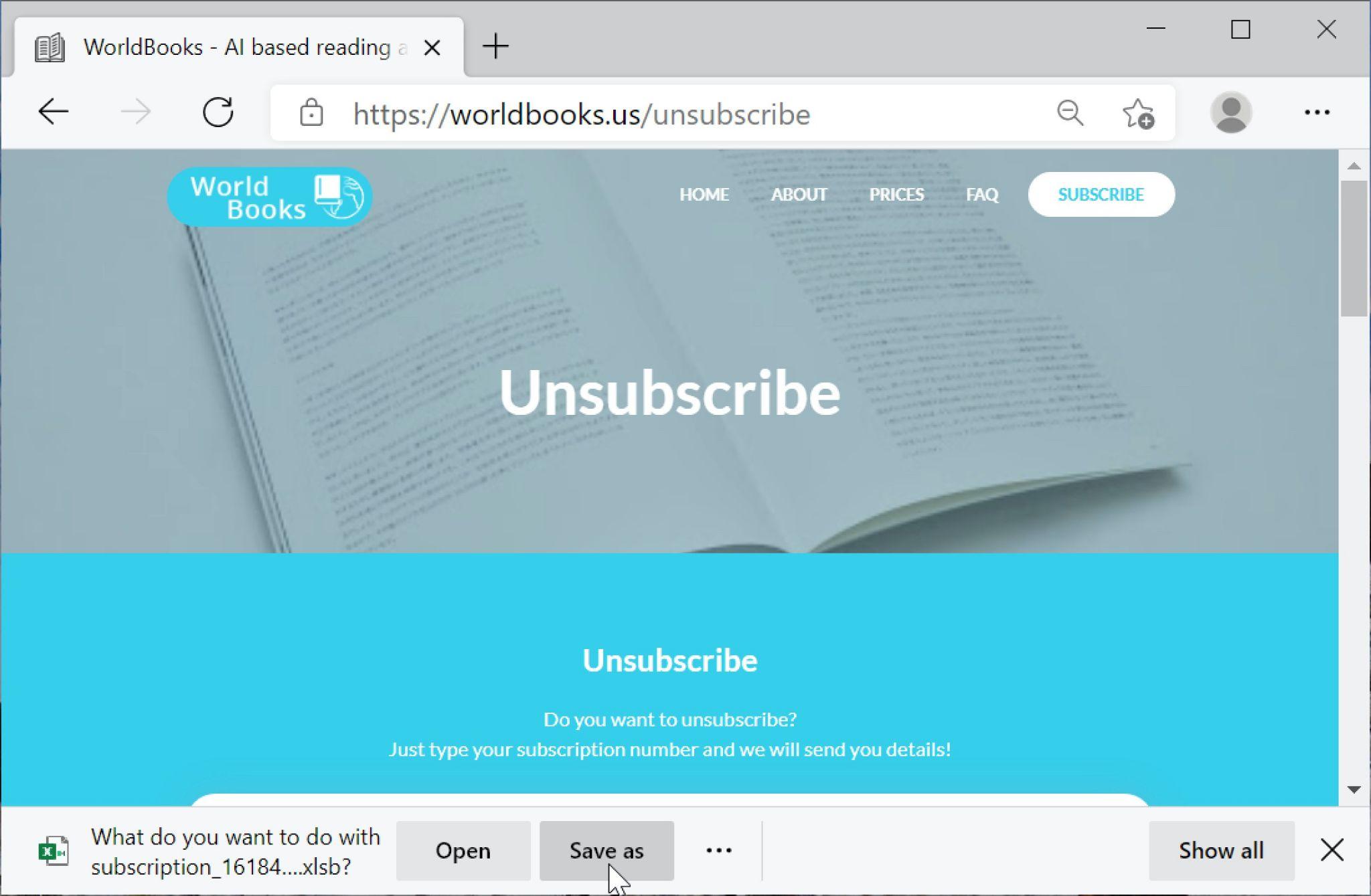 偽のWorld Books WebサイトはExcelファイルをダウンロードできるようになっています。