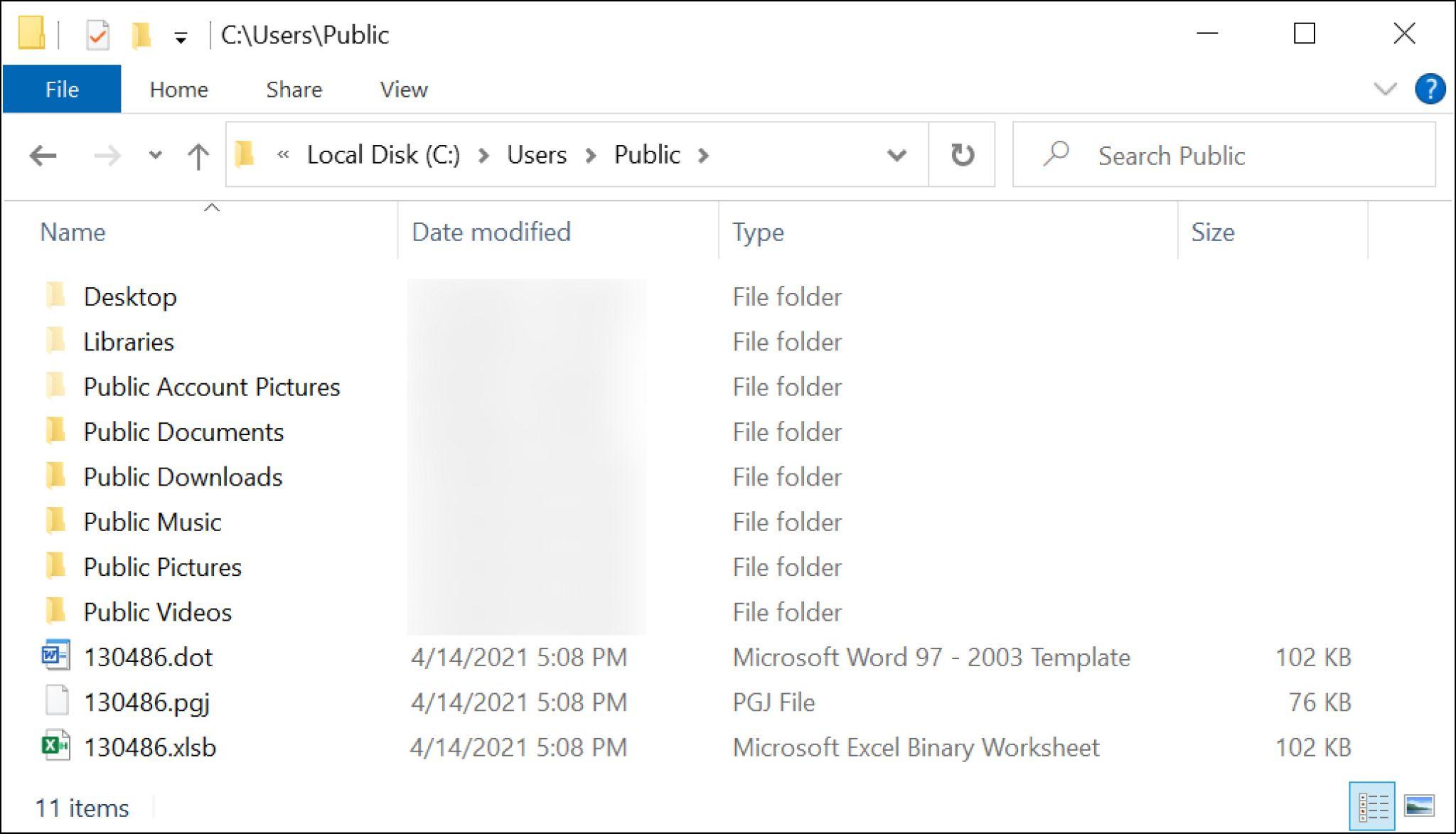 マクロをダウンロード後のWindowsコンピュータのフォルダのスクリーンショット