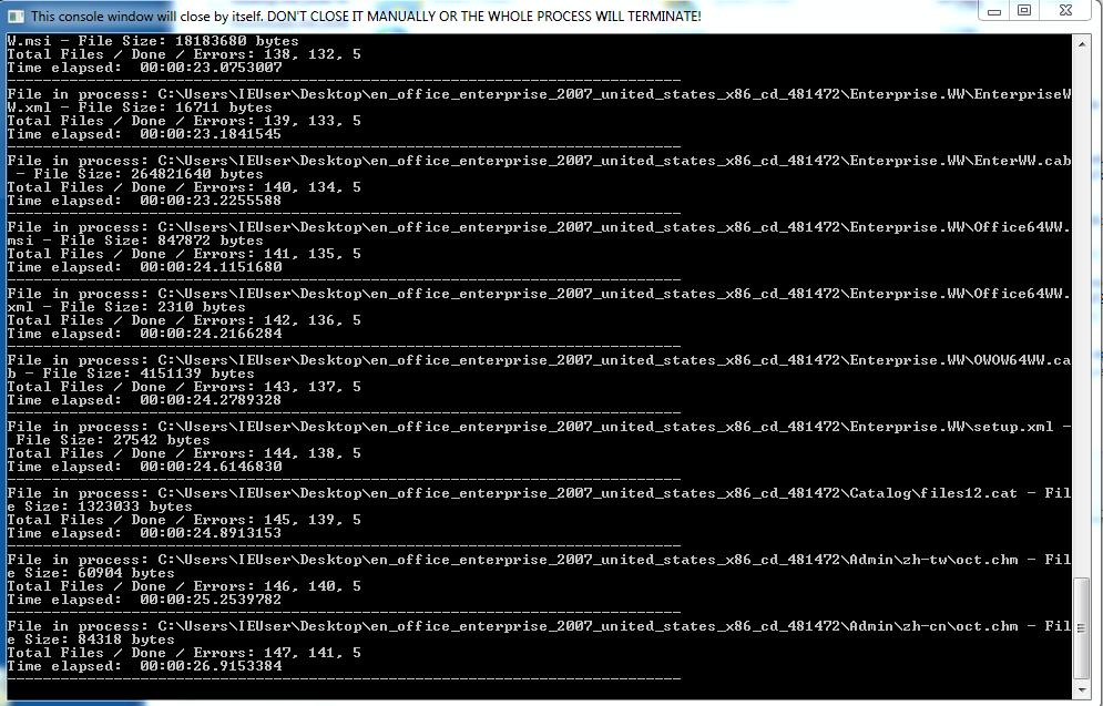 観測されたサンプルの中には、実行すると暗号化の進行状況を示すWindowsコマンドシェルが表示されるものがありました(写真)。