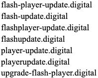 偽のAdobe Flash更新のパターンを示したドメインのクラスタ