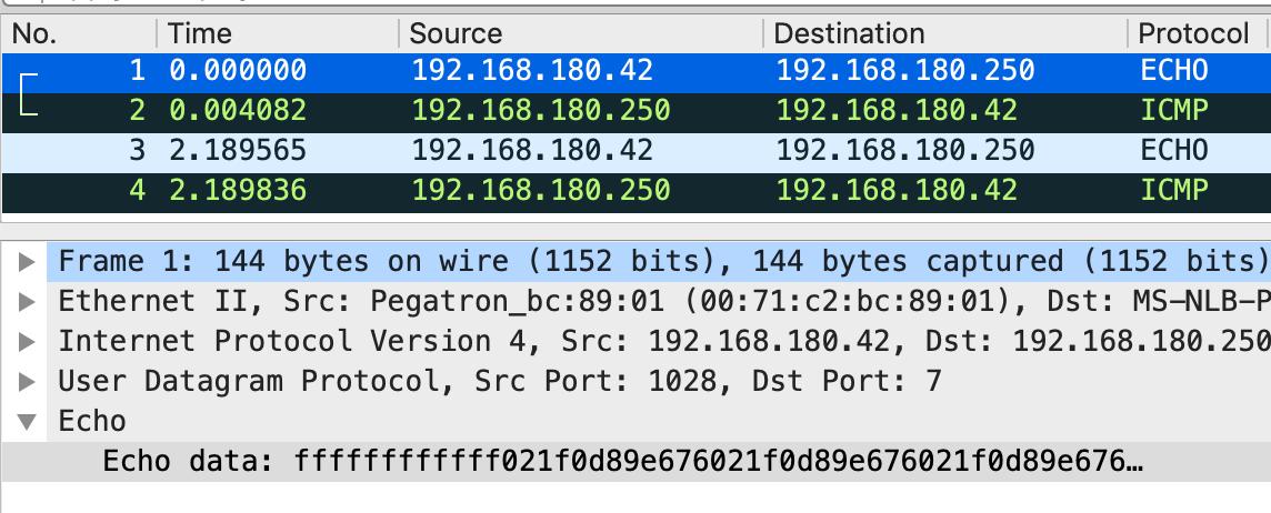 WireSharkでキャプチャしたRyukサンプルのスクリーンショット。Time列、Source列、Destination列、Protocol列を表示している。