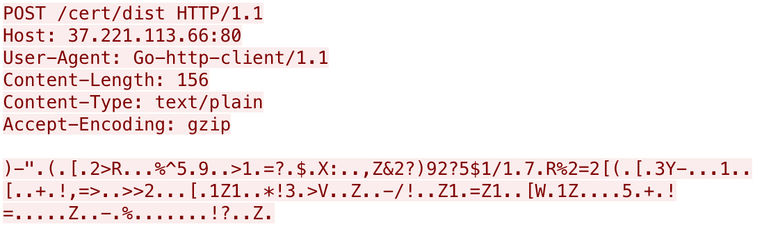 Gasketからのリモートリクエスト。Host, User-Agent, Content-Length, Content-Type, Accept-Codingが含まれている
