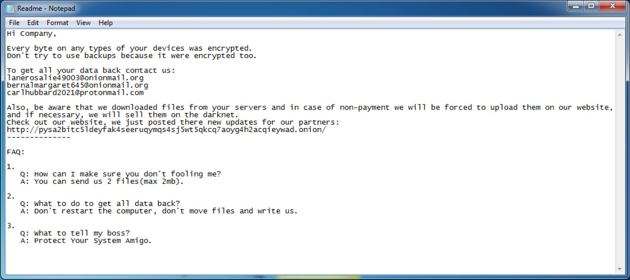 ランサムウェアMespinozaによる身代金要求メモのスクリーンショット