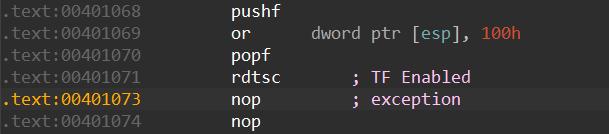 この例外はTFを有効にする命令実行後の最初のNOP命令(0x00401073)に渡ります。