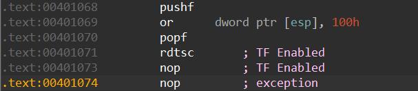 2回目のNOP命令(0x00401073)で例外が発生した。これによりVMの終了とTFのクリアが行われた
