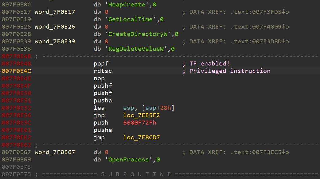 Lampionのサンプルは、隠された命令でシステムチェックを行う