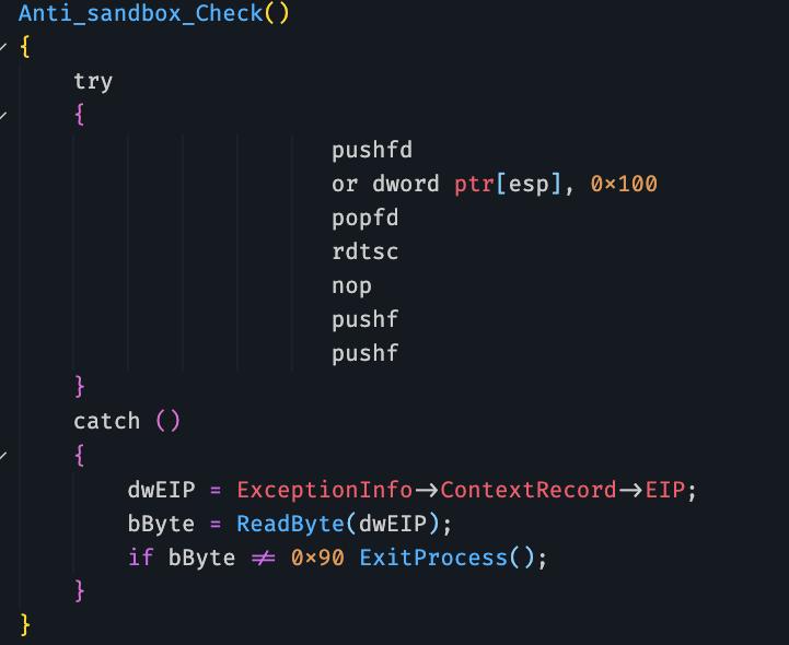 LampionがサンドボックスのTFを有効にしてVMを終了させ、システムチェックを行う疑似コード。