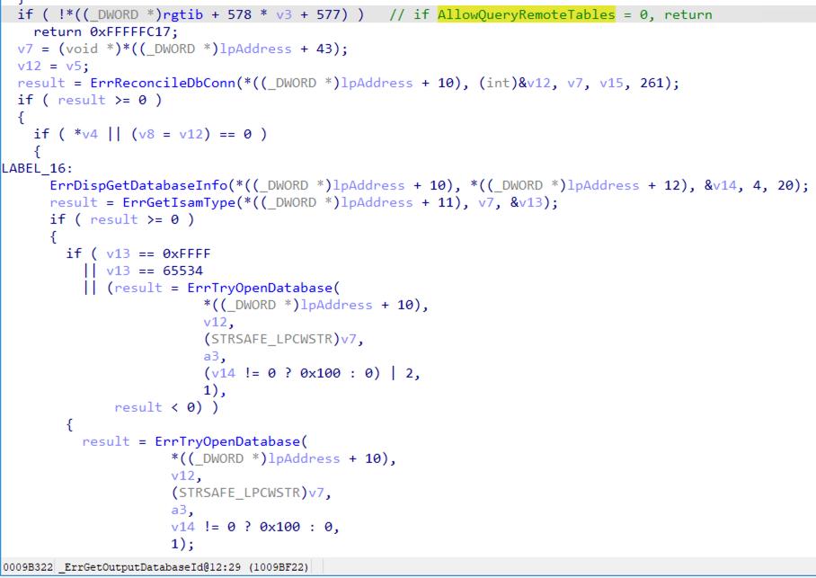 この図で示すように、AllowQueryRemoteTablesフィールドが「0」に設定されている場合、_ErrGetOutputDatabaseId関数がエラーを返し、データベースファイルを開くためにErrTryOpenDatabase関数は呼び出されなくなる。したがってリモートデータベースアクセスの攻撃対象領域は実質的に緩和される