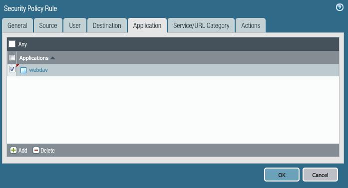 セキュリティポリシールール以下のアプリケーションタブに「webdav」を追加