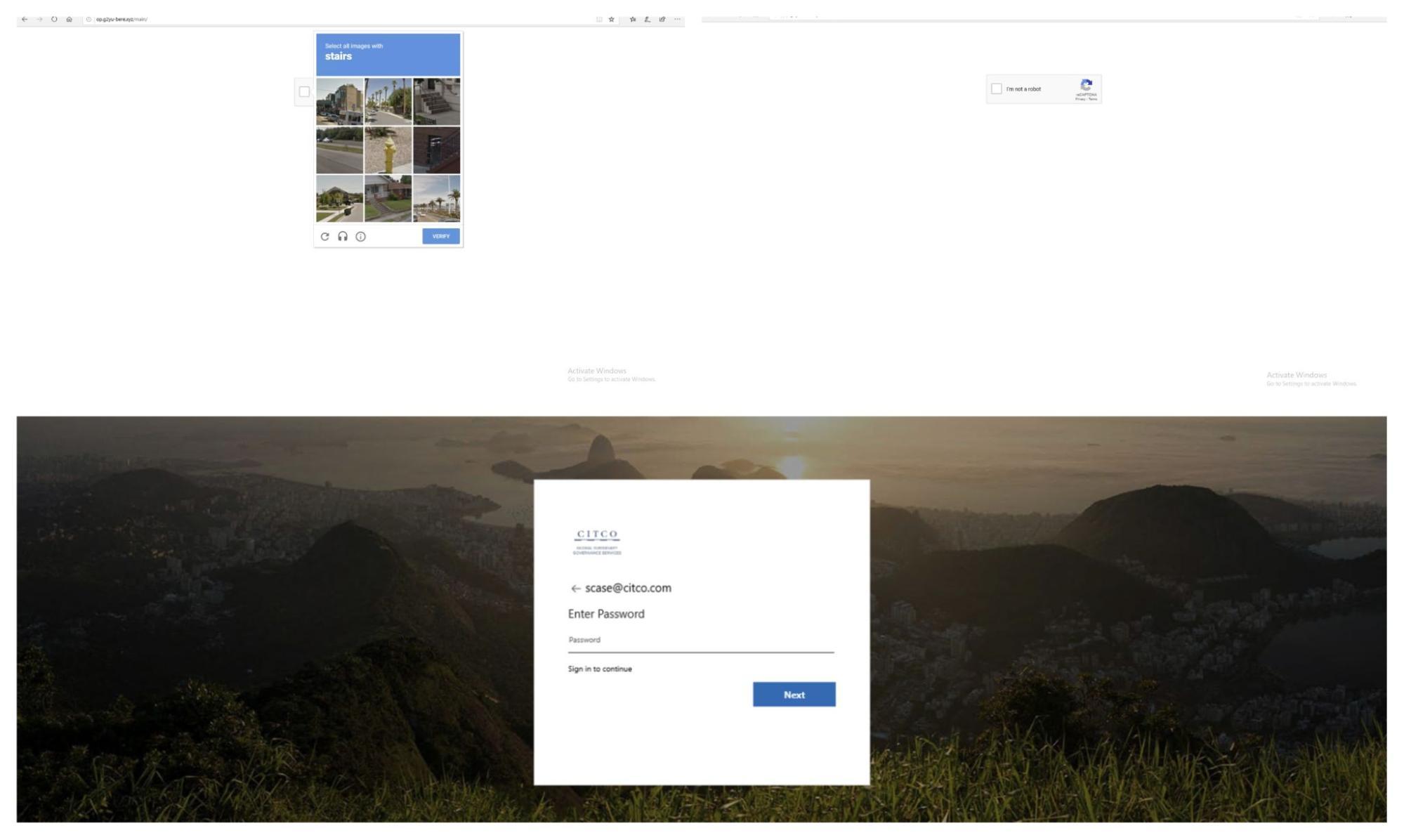 CAPTCHAで保護されたフィッシングキャンペーン。Microsoft のアカウント認証情報を狙ったもの。