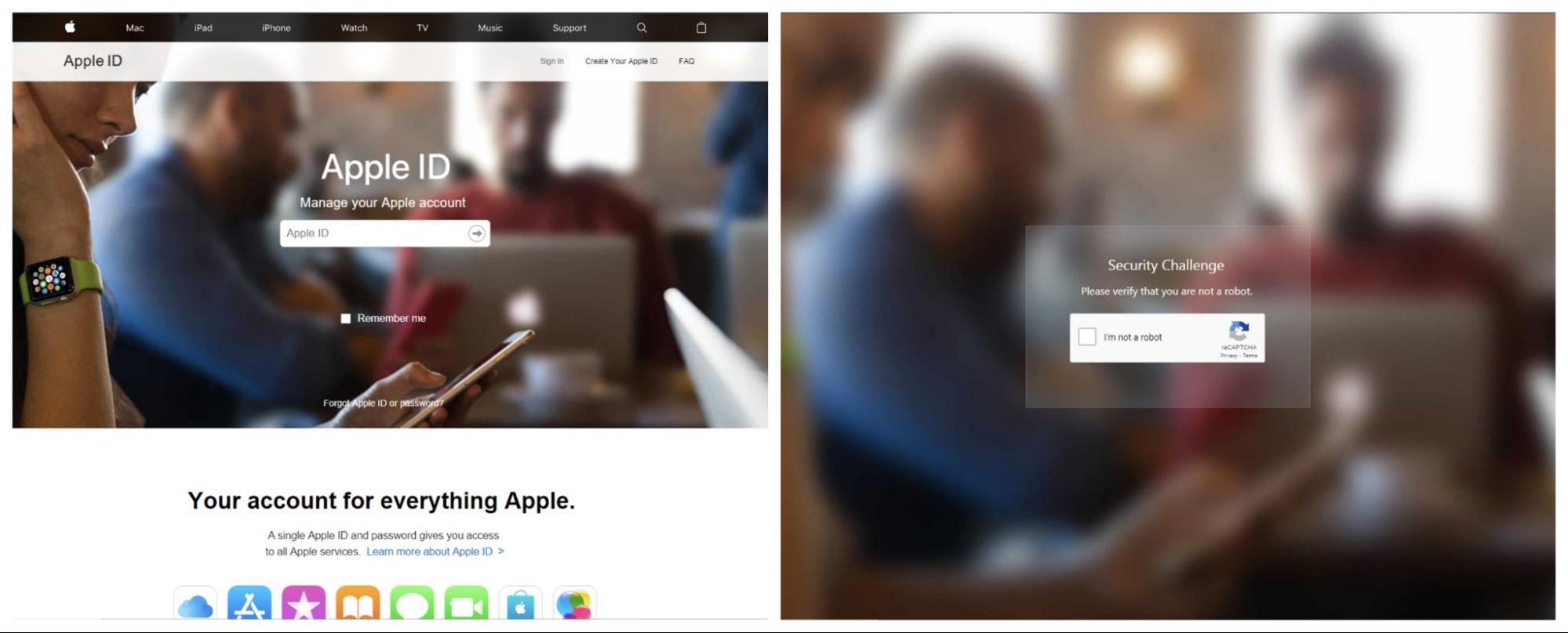 Apple ID のフィッシング用 web ページのスクリーンショット