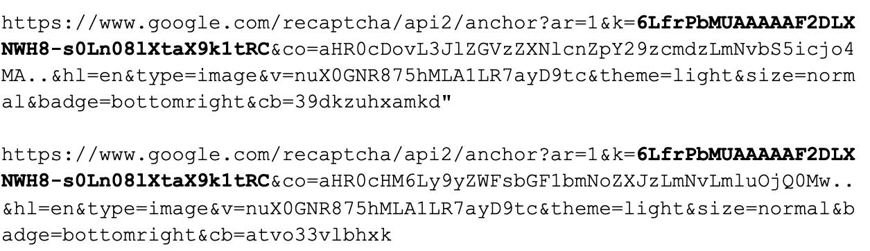 サブリクエストからURLパラメータで使用されているreCAPTCHA API キーが明らかにRe-CAPTCHA API キーは太字で示されている。
