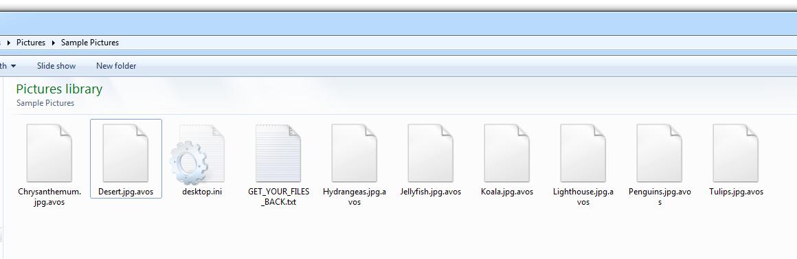 AvosLockerが暗号化したファイルには、この図が示すように、通常は「.avos」という拡張子が使われます。