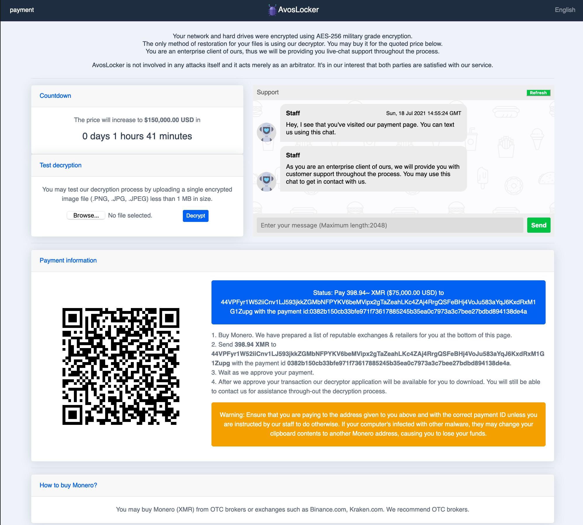 ここに表示されているAvosLockerのサポートページにはランサムウェアに関する情報と、AvosLockerは攻撃に関与せず、代わりに仲裁者としての役割を果たしているという主張が掲載されています。また、カウントダウン、テスト復号ウィジェット、サポートスタッフとのチャットの機会、支払い方法の情報なども提供しています。