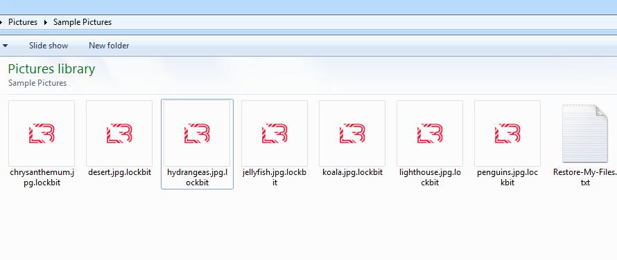 LockBit2.0で暗号化されたファイルランサムウェアのオペレータは、暗号化したファイルに拡張子 .lockbit を使用します。