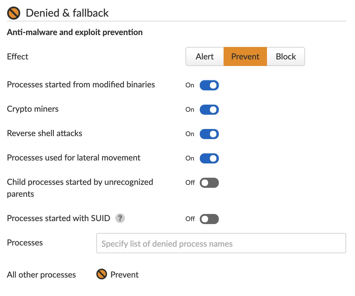 Prisma Cloudのランタイム保護機能はマシンの振る舞いを学習し、プロセスのためのルールセットを作成します。予期せぬプロセスの実行を試みることに対するこの保護は、Microsoftが最近導入したセキュリティ更新プログラムとともに、Windowsコンテナのエスケープを防ぐことができます。