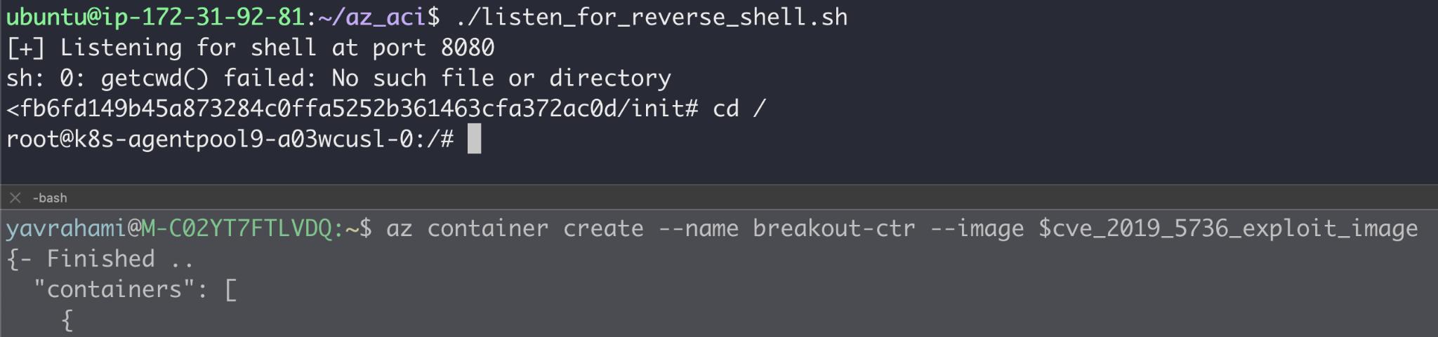 このような古いバージョンのrunCがACIに存在していることを発見したので、当時開発したPoCコンテナイメージに手を入れてACIにデプロイしました。その結果、コンテナからのエスケープに成功し、Kubernetesノードであることが判明した基盤ホスト上でrootとして動作するリバースシェルを手に入れました。ここでは、CVE-2019-5736を悪用して弊社のACIコンテナをエスケープするプロセスのスクリーンショットを示しています。