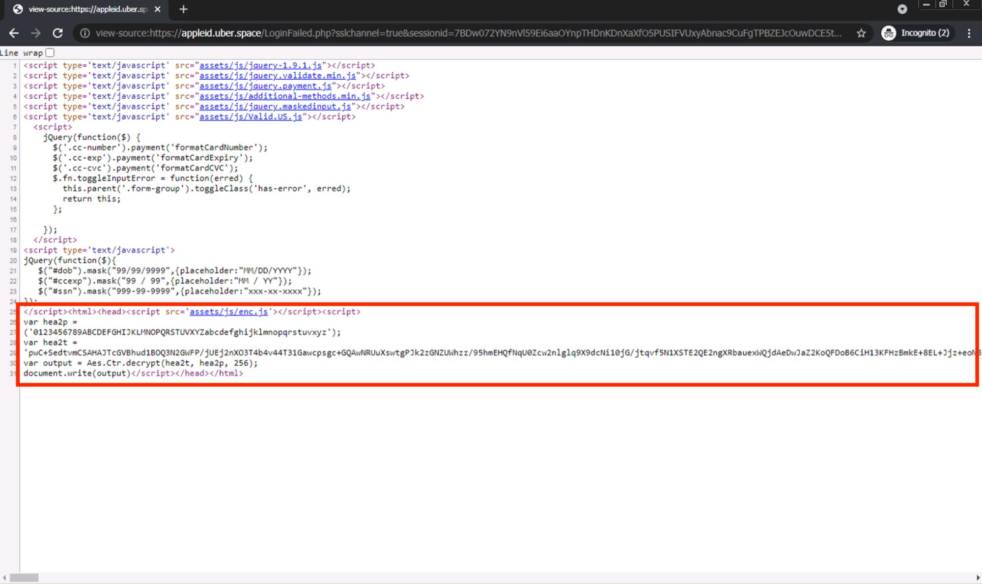 このページのソースコードを調査したところ、ページのコンテンツのほとんどがHTML本文には直接存在しないことがわかりました。図に示すように、かわりにHTMLソースの一番下に大きなscriptタグがあります。これは、今回取り上げたJavaScriptを使ったフィッシング手法の一例です。