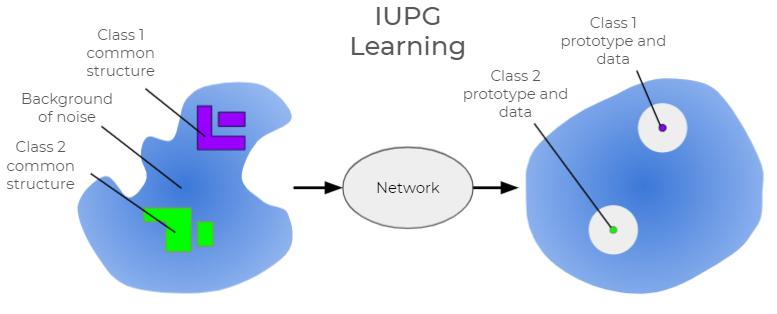 IUPGによる理想的な出力ベクトル空間を示す図。左側にはバックグラウンドにノイズがあり、クラス1の共通構造とクラス2の共通構造が示されている。ネットワークを通過すると、クラス1のプロトタイプとデータ、クラス2のプロトタイプとデータという結果になります。