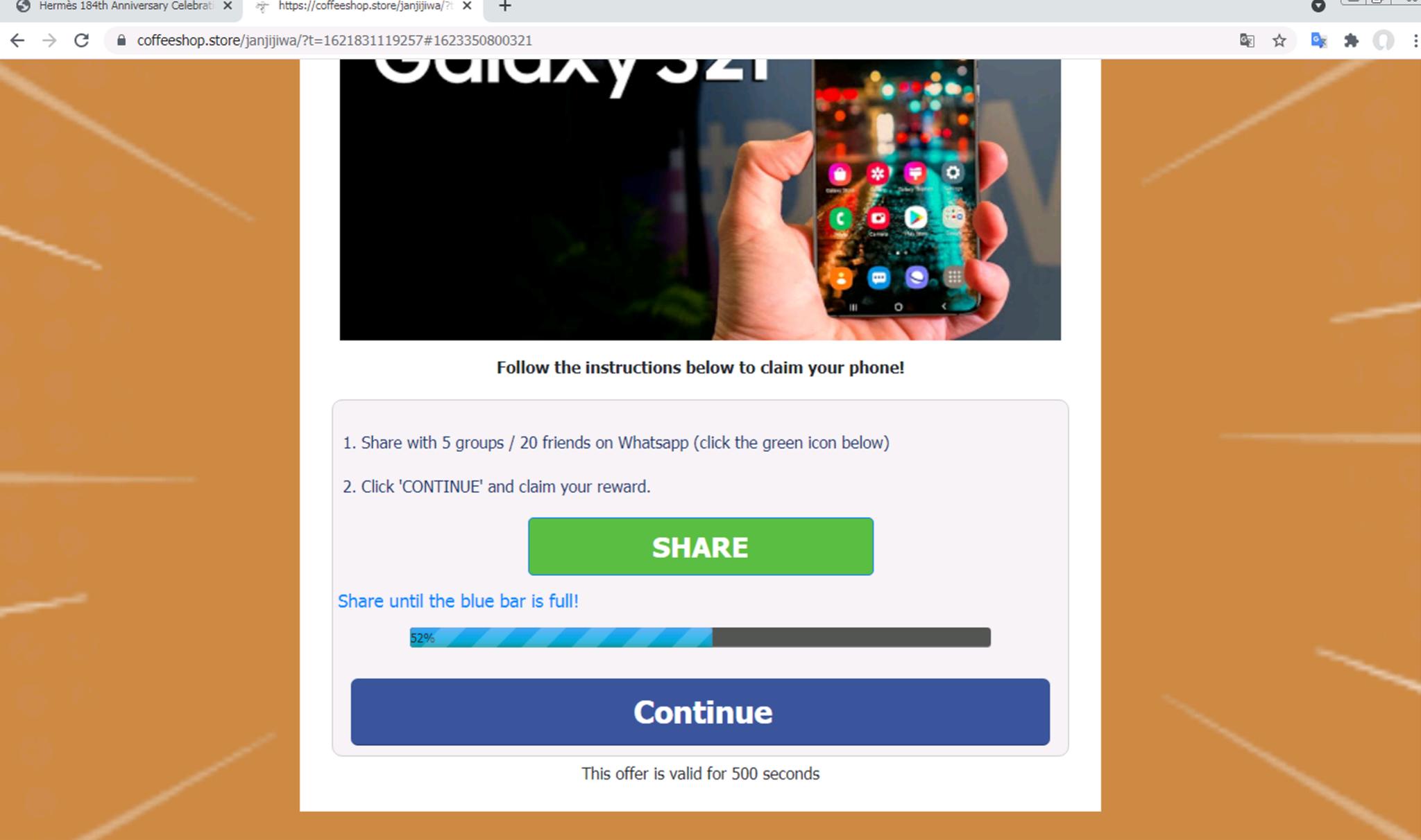詐欺ページの被害者がページの指示に従ってWhatsAppで共有すると、ページに表示されている青いバーが右に向かって大きく伸びます。